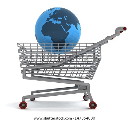 shopping cart with africa on globe illustration