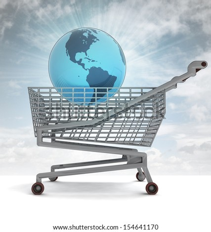 shopping cart with america on globe and sky flare illustration - stock photo