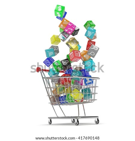 shopping cart with application software icons isolated on a white background. 3d rendering. - stock photo
