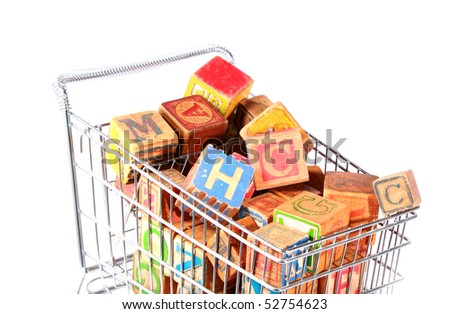 SHopping cart with blocks
