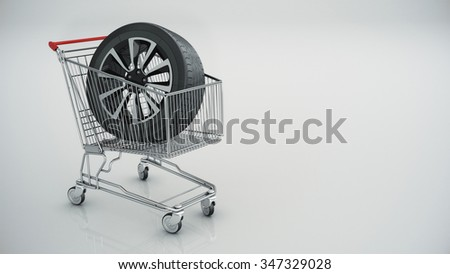shopping cart with Car wheel isolated - stock photo