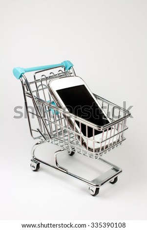 Shopping Cart with Cell Phone.