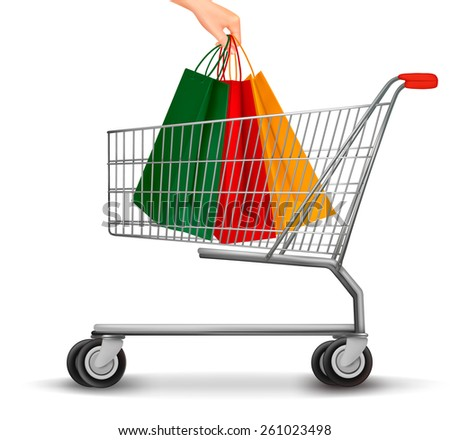Shopping cart with colorful shopping bags. Discount concept. - stock photo
