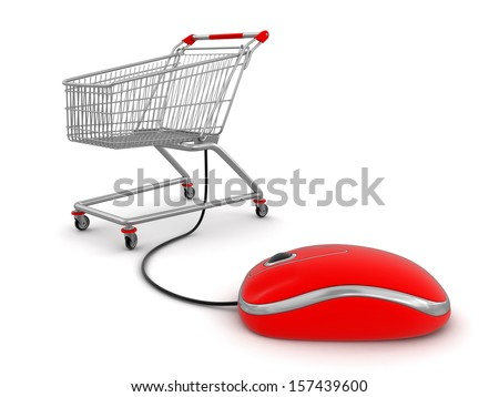 Shopping Cart  with computer mouse (clipping path included) - stock photo