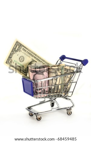 Shopping Cart with different dollar bills