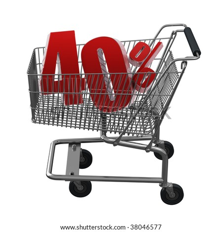Shopping cart with 40% discount in red
