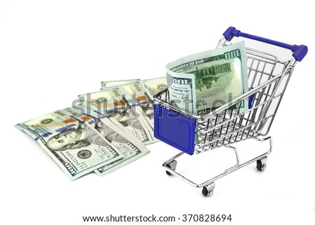 Shopping Cart With Dollar Cash And Blue Advertising Display Isolated On White Background, Closeup, Buyer Activity Concept