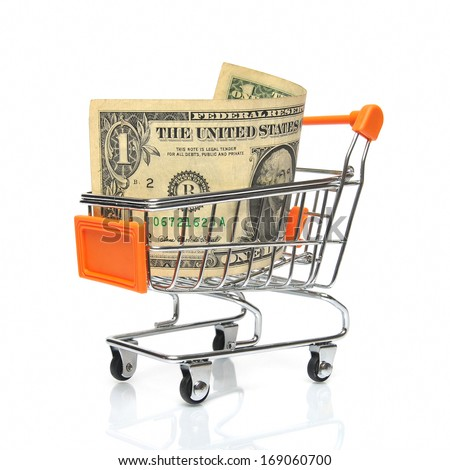 Shopping cart with dollar note - stock photo