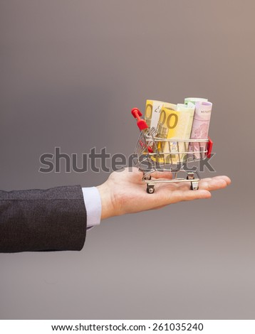 Shopping cart with euro banknotes on hand isolated on gray - stock photo