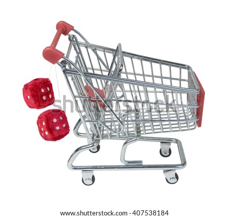 Shopping Cart with Fuzzy Dice Hanging from Handle - path included - stock photo
