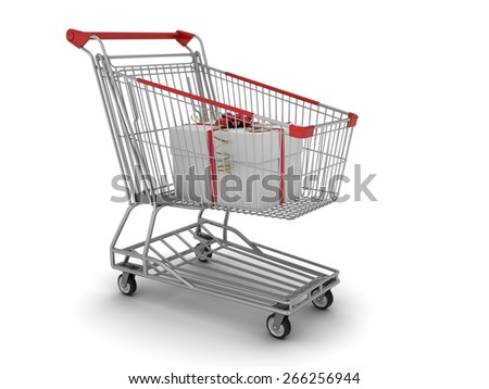 Shopping cart with gift box on white background