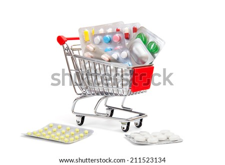 shopping cart with medications and Supplements - stock photo