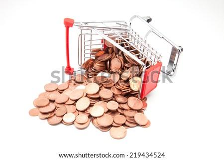 Shopping Cart with money isolated on white background - stock photo