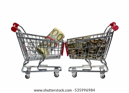 Shopping Cart with money isolated on white background.