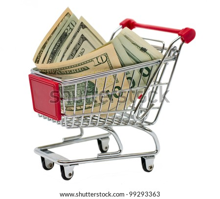 Shopping cart with money isolated on white background