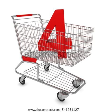 Shopping Cart with Number Four Isolated on White - 3D Illustration