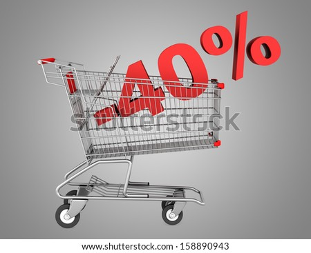 shopping cart with 40 percent discount isolated on gray background