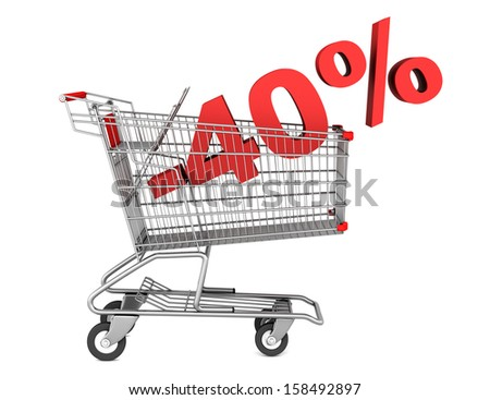 shopping cart with 40 percent discount isolated on white background