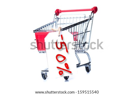 Shopping cart with 50 percent discount isolated on white background
