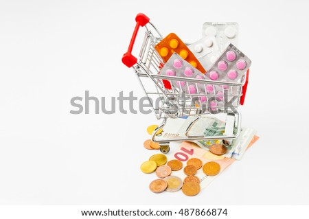Shopping cart with pills and Euro money on white background