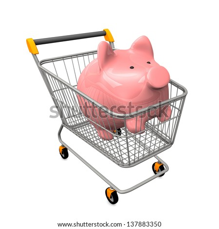 Shopping cart with pink piggy bank. White background. - stock photo