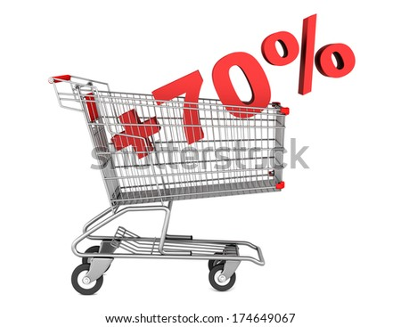 shopping cart with plus 70 percent sign isolated on white background