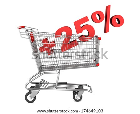 shopping cart with plus 25 percent sign isolated on white background