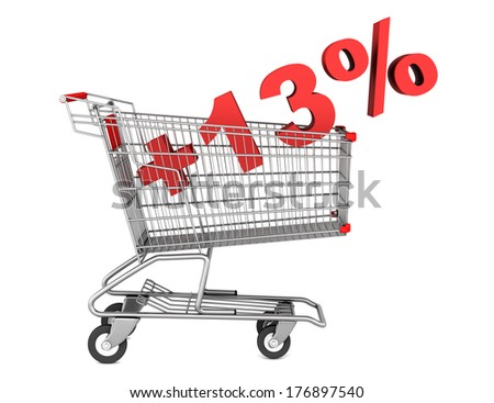 shopping cart with plus 13 percent sign isolated on white background