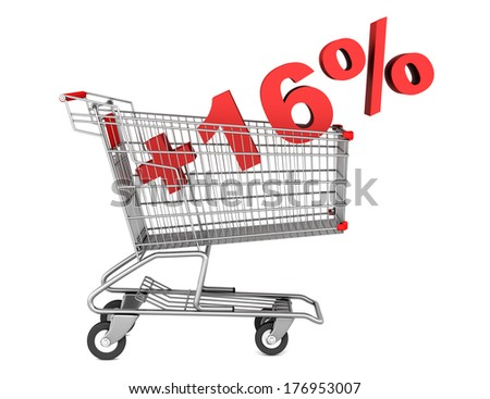 shopping cart with plus 16 percent sign isolated on white background