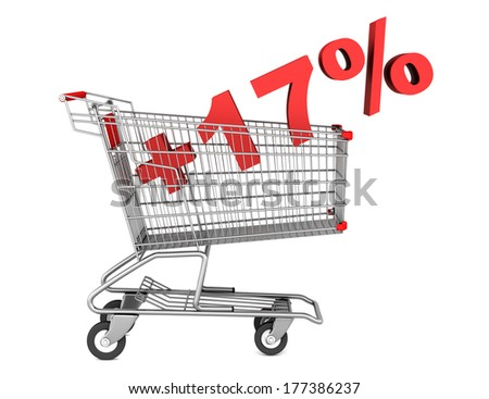 shopping cart with plus 17 percent sign isolated on white background