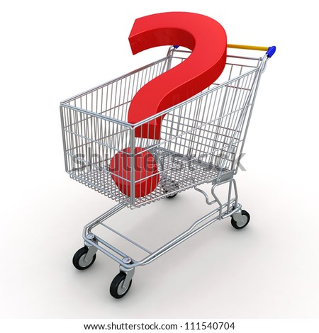 Shopping Cart with Question - stock photo