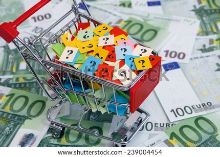 Shopping cart with question marks on one hundred euro banknotes. - stock photo