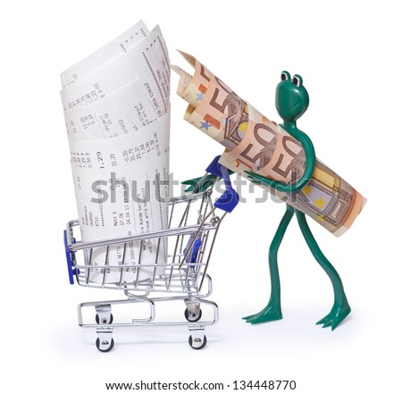 Shopping cart with receipts and frog with 50 euro bills on white - stock photo