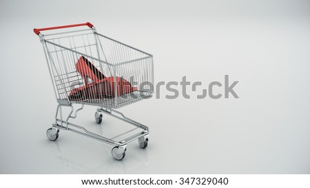 shopping cart with Red shoes