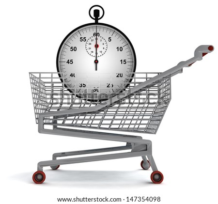 shopping cart with stopwatch on white illustration - stock photo