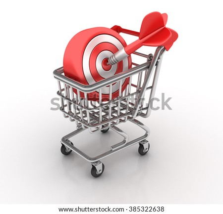 Shopping Cart with Target and Dart - High Quality 3D Render   - stock photo