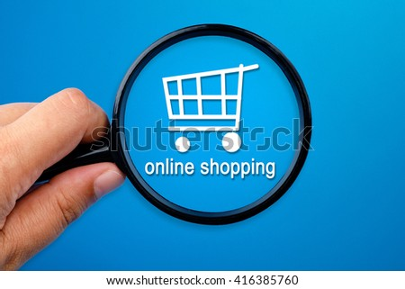 Shopping cart with the word Online Shopping