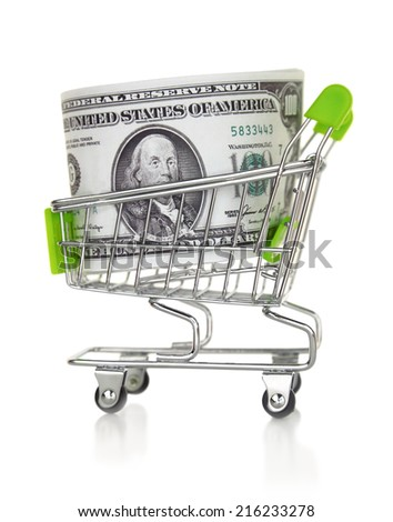 Shopping cart with US dollar isolated on the white  - stock photo