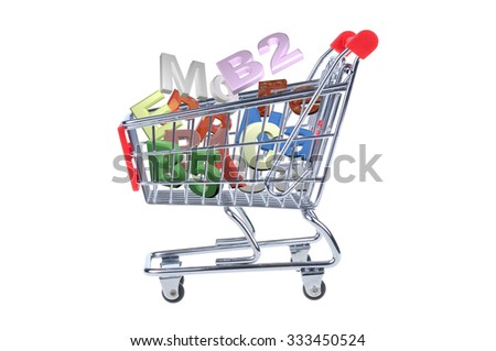 shopping cart with vitamins symbols isolated on white background