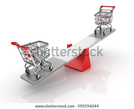 Shopping Carts Balancing on a Seesaw - Balance Concept - High Quality 3D Render  - stock photo