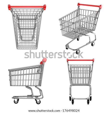 shopping carts icons - stock photo