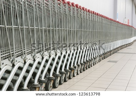 Shopping carts in a row in front of a mall
