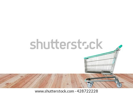 shopping carts on the wooden floor. isolated on white background - stock photo
