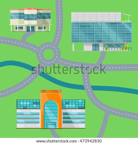 Shopping center map concept. Flat design. Modern commercial building  illustrations for web design, navigation services, banners.