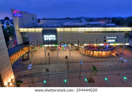 SHOPPING CENTER SFERA, BIELSKO-BIALA, POLAND - JUNE 30: Aerial view for big shopping center in city centrum, June 30, Bielsko-Biala, Poland. Mall was build in two steps - 2001 and 2009 year - stock photo