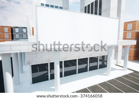Shopping center with blank billboard, mock up 3D Render - stock photo