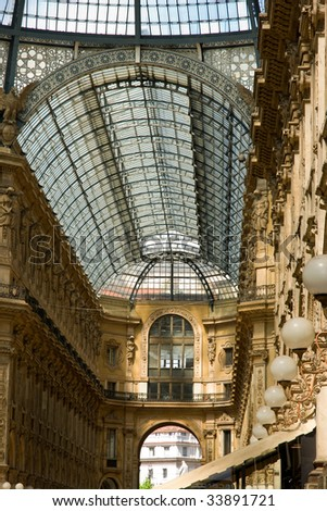 Shopping centre roof in Milan - stock photo
