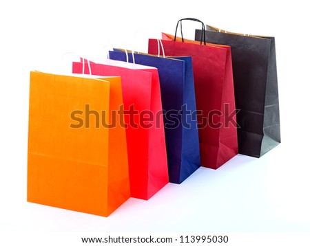 Shopping colorful bag recycle gift bags isolated background