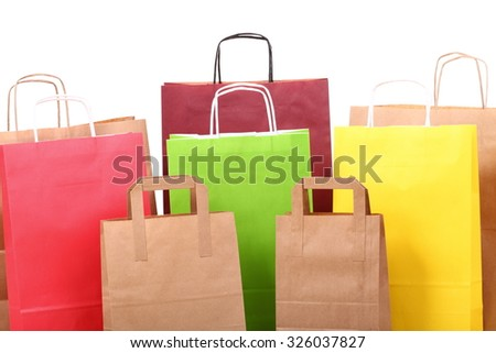 Shopping colorful gift bags isolated background