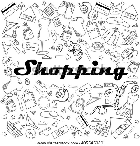 Shopping coloring book line art design raster illustration. Separate objects. Hand drawn doodle design elements.